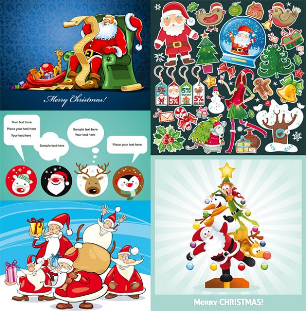several cute christmas theme with many santa