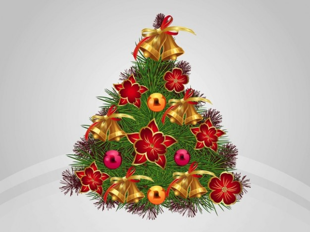 shiny christmas tree with ornaments golden balls flowers