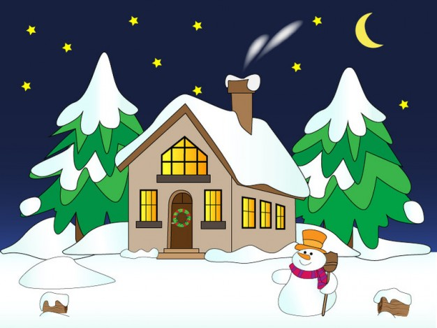 Snowman house Art with snow about moon night Landscape sketch