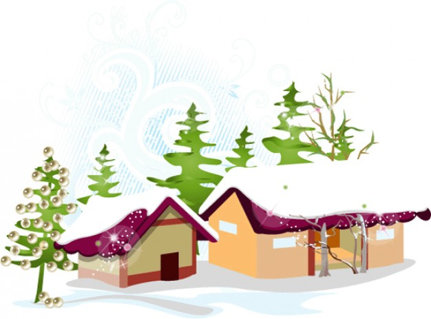 snowy houses and green pines at background