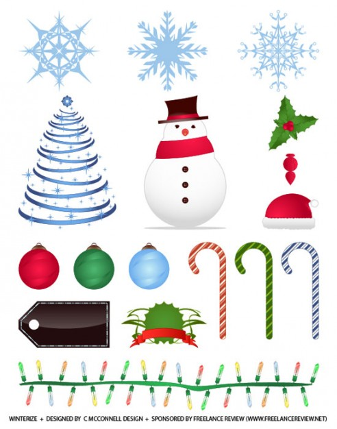 winter and christmas vectors like crutch snowflake snowman ball