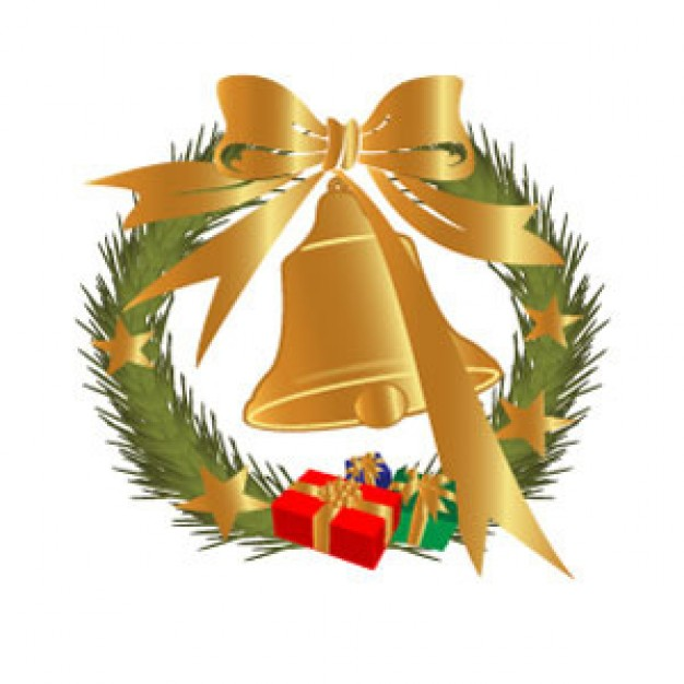 xmas ribbon bell image with pine leaf circle and gift box