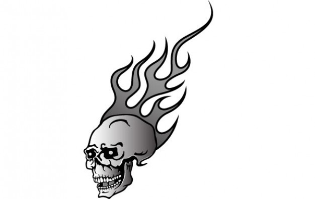 skull on fire with  background