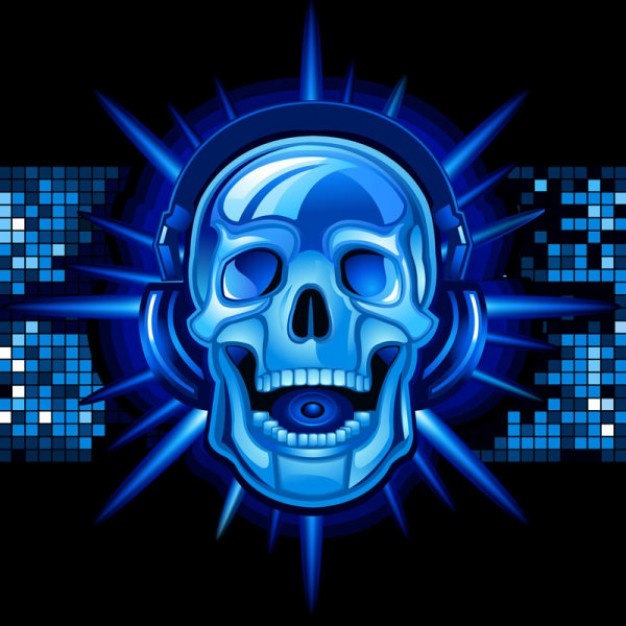music skull with  background