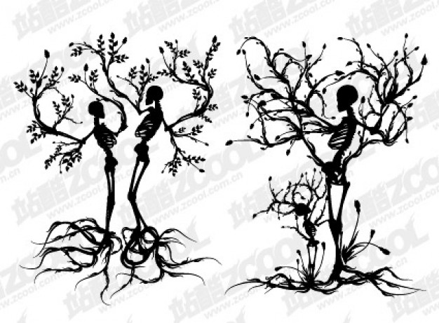 2 skeleton trees material with grey style