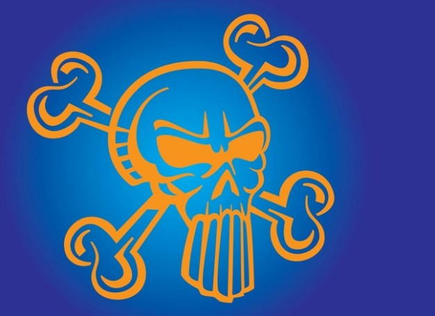 Color yellow Heavy Metal skull cartoon on blue background about Heavy metal music Pink