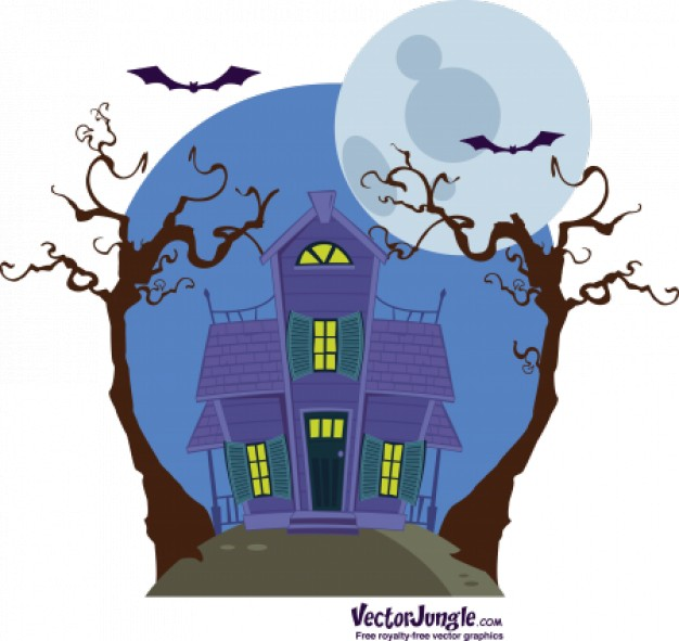 Halloween haunted Moon house illustration under the moon about Holidays Haunted Attractions