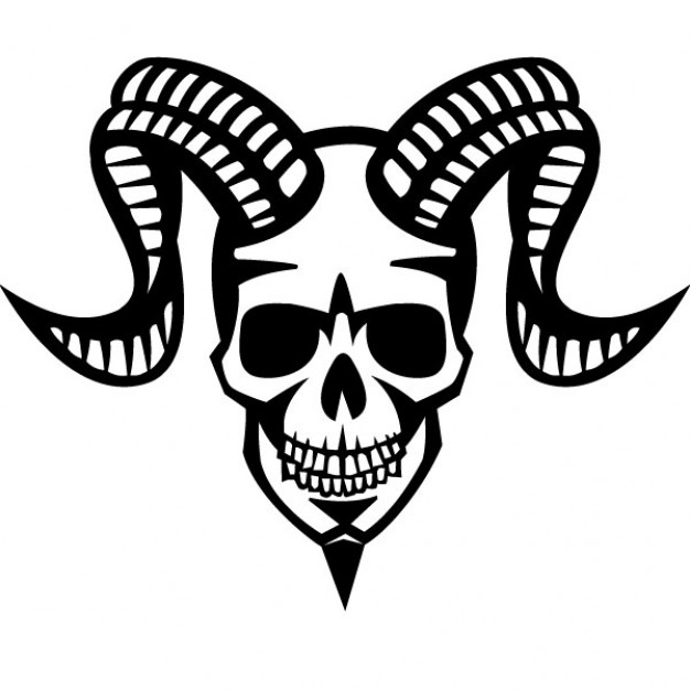 Halloween smiling Holidays skull with ram horns about Opinions Skull