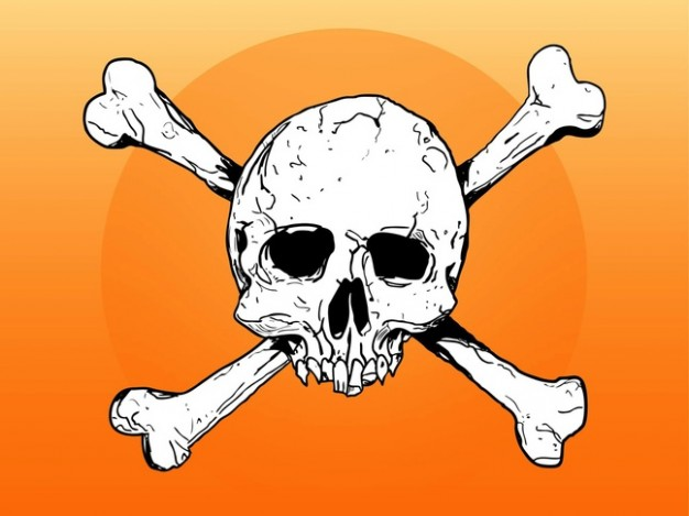 Jolly Roger dead Piracy skull and bones sketch about Halloween Calico Jack