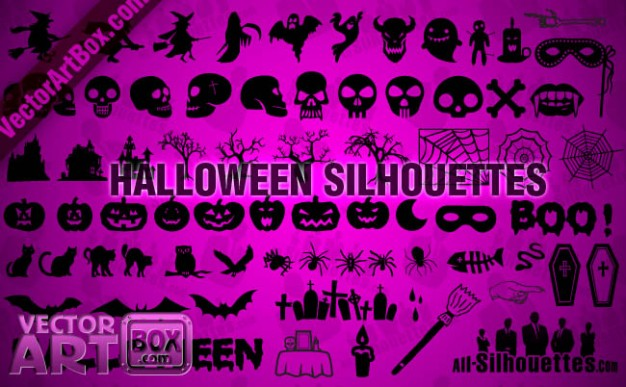 a group of halloween silhouettes including skulls bat witch etc