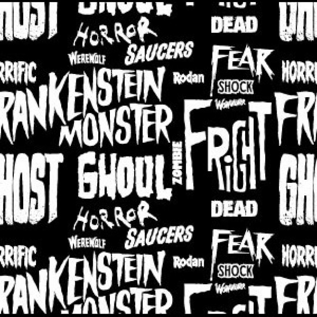 a seamless typography horror pattern with dark background