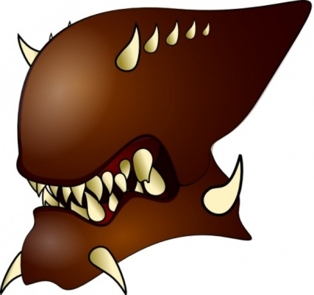 alien warrior with many horns clip art with brown color
