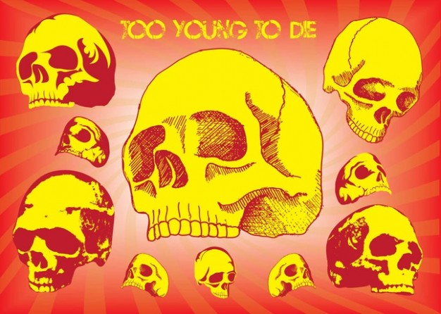 Anatomy too Human skull young to die with red background about death element
