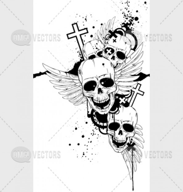 Arts black and white grunge skulls about Grunge Clothing pattern