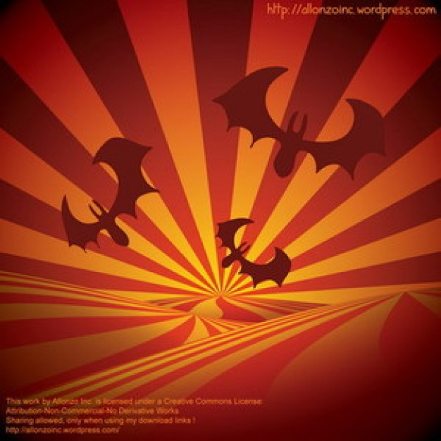 bats silhouettes on sunburst with orange radiant background