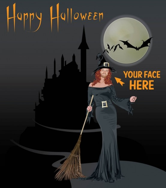 beautiful witch halloween with grey night moon background