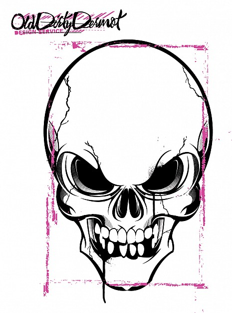 black and purple skull with white background