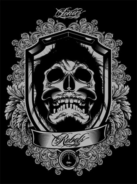 black and white skull with ornaments and dark background