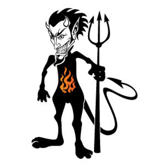 black devil monster image with fire logo in belly