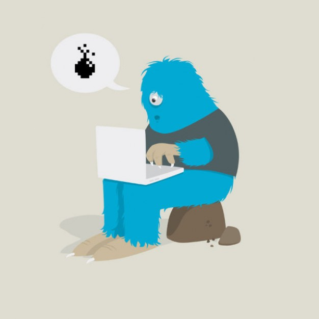 blue monster sitting with a laptop Notebooks