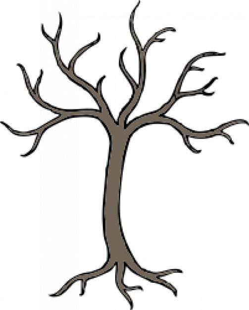 brown barren tree with white background