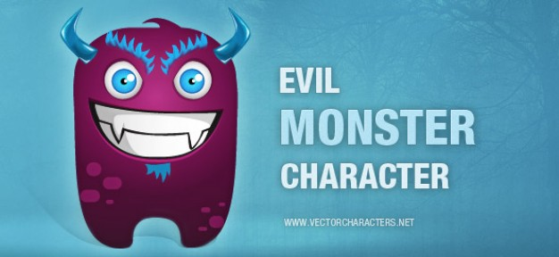 Cartoon evil art monster character illustration with blue background about Monster Sesame Street