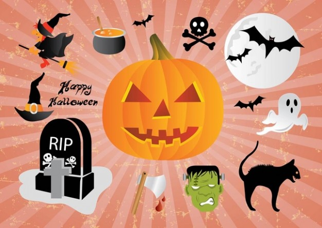 cartoons halloween elements with pumpkin bat moon bat cat etc
