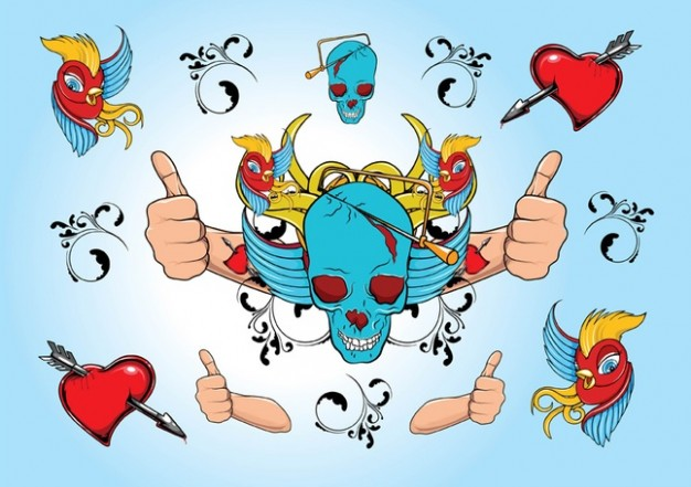 cool skull illustration like heart wings with light blue background