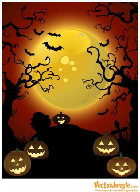 creepy trees and pumpkins with orange moon night background