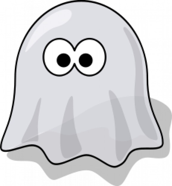 cute cartoon ghost with eyes outside