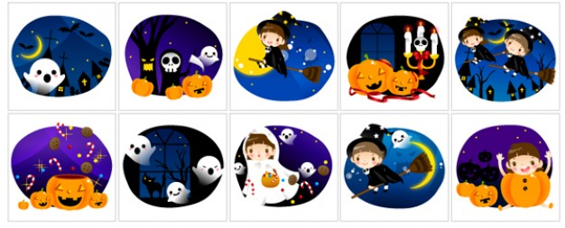 cute halloween circle scene with white background