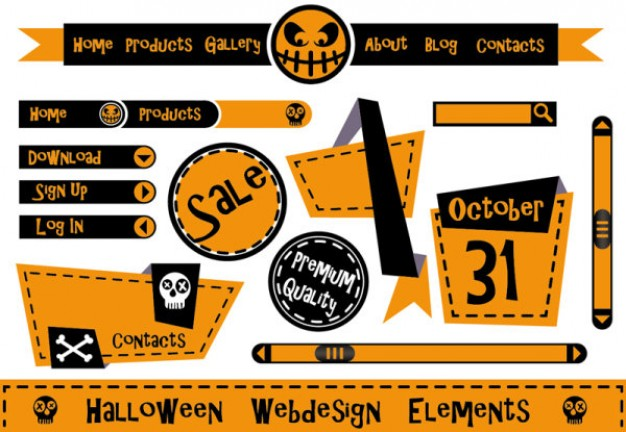 cute halloween web design elements with yellow background