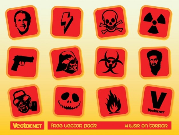 dangerous icon like skull hilum gum fire with orange background