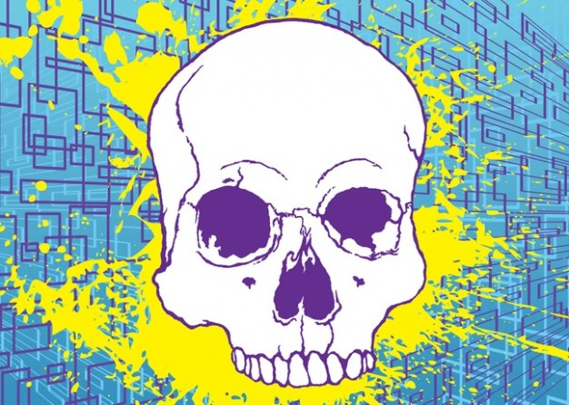 drawn Tattoo skull Heavy metal music stock image with blue grids background about dangerous element
