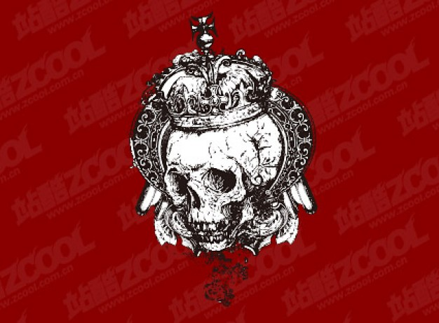 european style black and white skull with crown material
