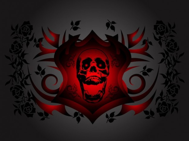 Facebook laughing Halloween skull with roses background about halloween Roses