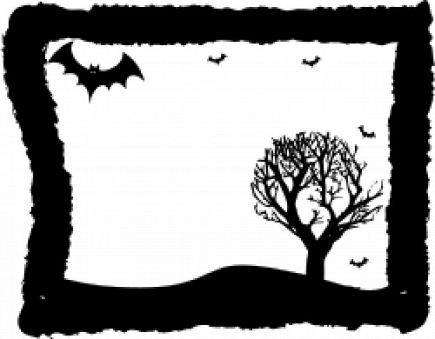frame with bats and leafless tree inside and black border