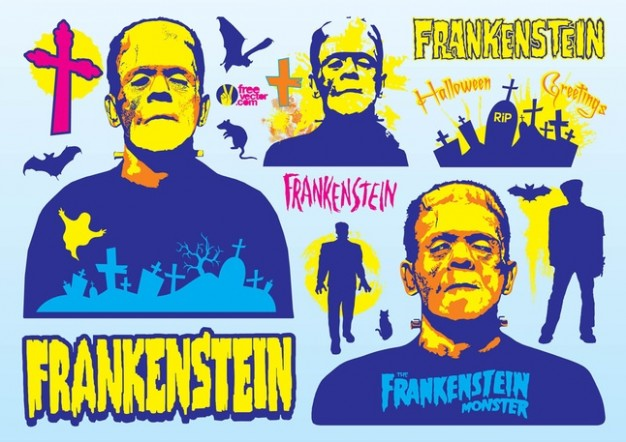 Frankenstein Mary Shelley characters with blue background about Victor Frankenstein's monster