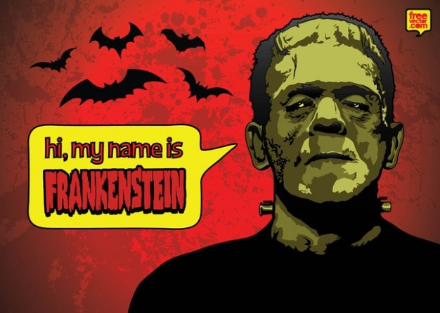 Frankenstein Mary Shelley halloween with bats red background about Victor Frankenstein's monster