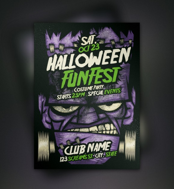 franky evil halloween flyer template with grey background