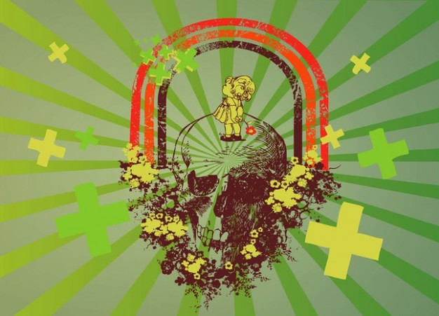future hope with skull arounded by rainbow and green radiant background