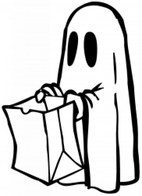 ghost begging with bag in black and white