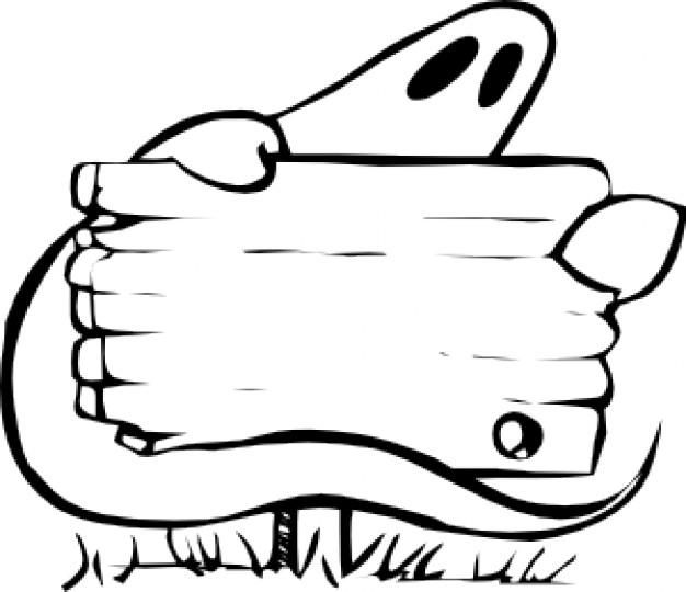 ghost with sign with white background in black and white