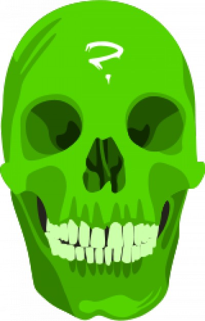 green skull in front view