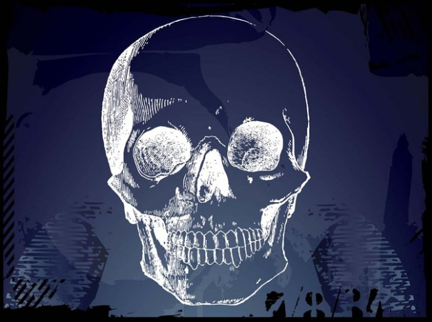 grunge pirate skull sketch with blue background
