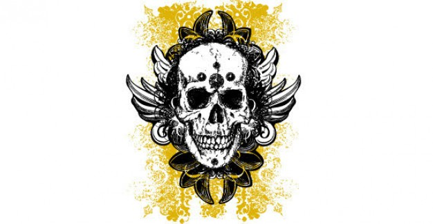 grunge skulls with wings yellow floral background