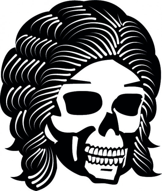 hairy skull front view cartoon icon with white background