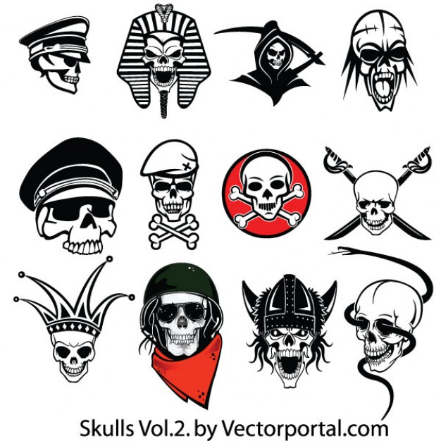Halloween amazing Holiday skulls set icons about Day of the Dead Skull