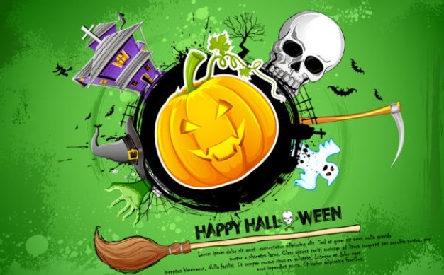 halloween banner card design with house skull green background