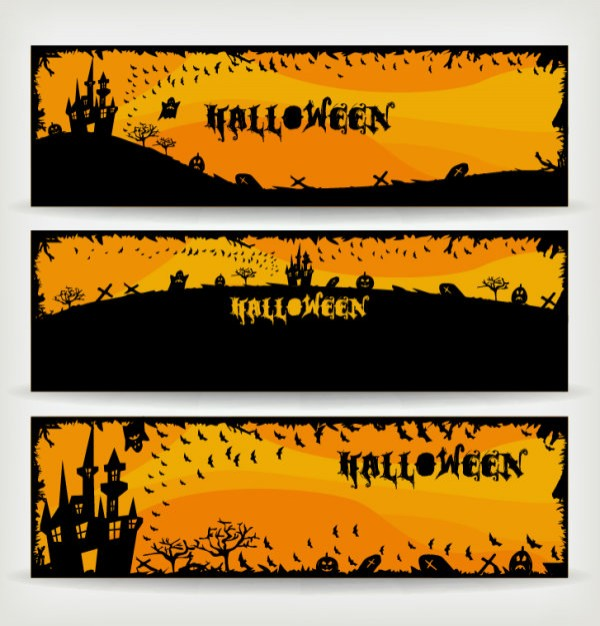 halloween banners background set with orange sky background